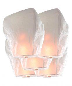 5 Lanterne Cinesi Volanti Sky Lanterns GIGANTE BIANCHE Premium