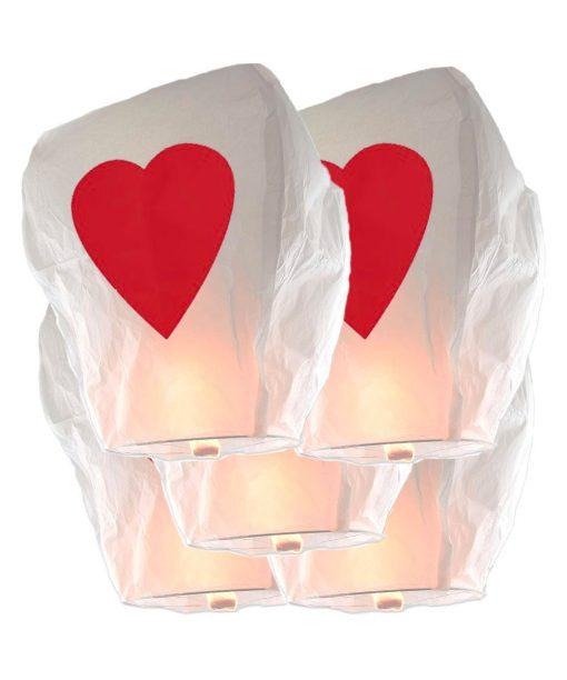 5 Lanterne dei Desideri Sky Lanterns CUORE Premium