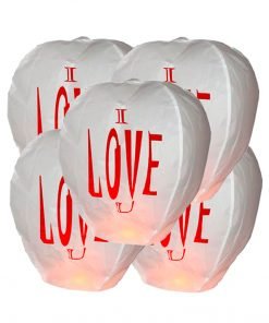 "5 Lanterne dei desideri Sky Lanterns ""I LOVE YOU"" Premium"